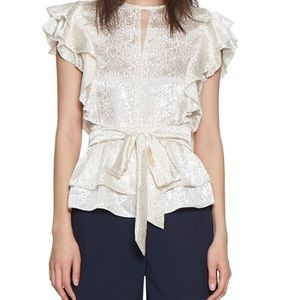 WALTER  BAKER Coffey Printed Tiered Peplum Top
